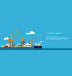 Banner with tanker in a cargo seaport vector