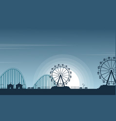 Beauty landscape amusement park silhouette vector