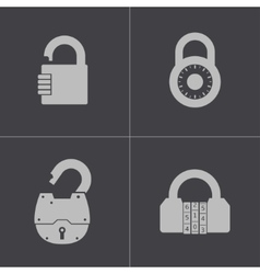 black lock icons set vector image