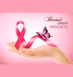 breast cancer awareness pink background vector image