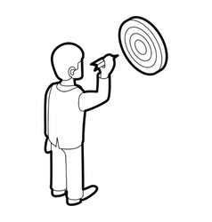 Businessman aiming at target icon outline style vector image