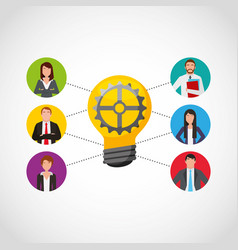 Businesspeople teamwork community icons vector