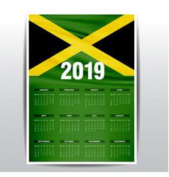 Calendar 2019 jamaica flag background english vector