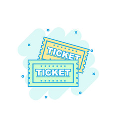 Cartoon colored ticket icon in comic style admit vector