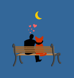 cat lover sitting on bench my kitty pet and guy vector image