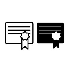 certificate line and glyph icon document vector image