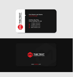 clean black card with the red letter m vector image