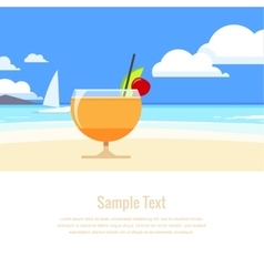 Cocktail on the background seascape vector