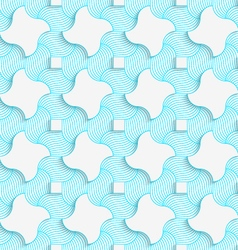 Colored 3D blue stripes and wavy squares vector image