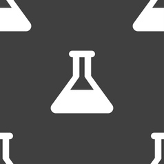 Conical Flask icon sign Seamless pattern on a gray vector image