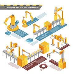 conveyor system isometric infographics vector image