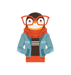Cute fashion penguin guy character hipster animal vector