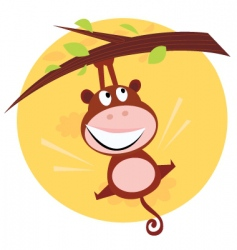 cute monkey hanging from tree vector image