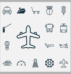 Delivery icons set collection of jet roadblock vector