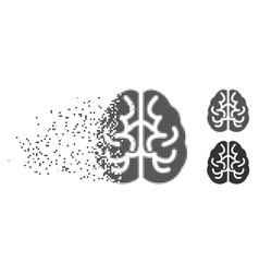 destructed pixel halftone brain icon vector image