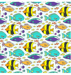 doodle fishes pattern hand drawn marine seamless vector image