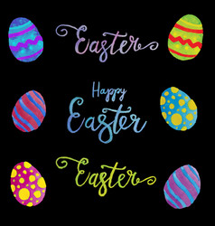 Easter eggs composition hand drawn on black vector