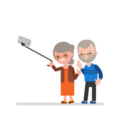 elderly couple taking selfie with walking stick vector image