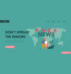Fake news landing page template couple women vector