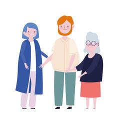 family dad mom and granny member cartoon character vector image
