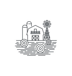 farm hay line icon outline of hay vector image