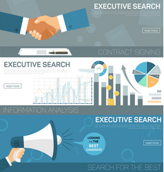 Flat banner set executive search contract signing vector