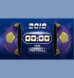 football banner with 3d golden blue ball soccer vector image
