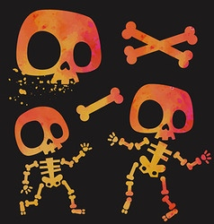 Funny little cartoon stylized skeletons set vector image
