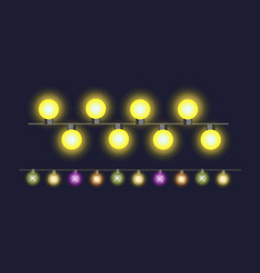 glowing christmas garland light bulbs for xmas vector image