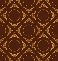 golden color of thai patter floral seamless on vector image