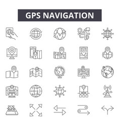 gps navigation line icons signs set vector image