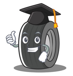 Graduation tire character cartoon style vector