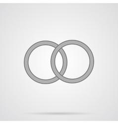 Gray Wedding Rings Flat Icon vector image