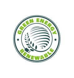 green energy stamp logo design nature emblem vector image