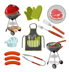grill mittens fresh meat on grid vector image