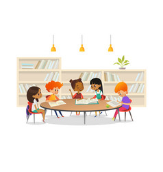 Group of children sitting around table at school vector