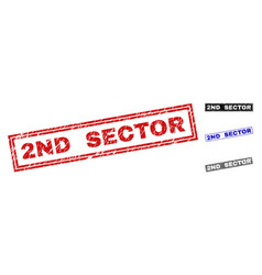 grunge 2nd sector scratched rectangle stamp seals vector image