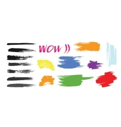 Grunge hand drawn brush stroke set vector