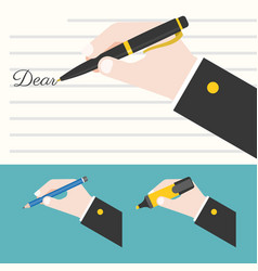 Hand holding pen vector