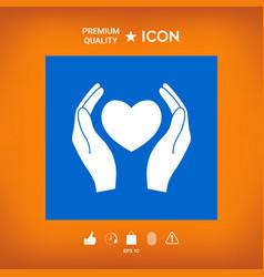 Hands holding heart symbol vector