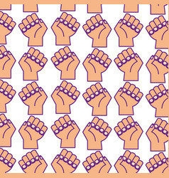 Hands human fist pattern background vector