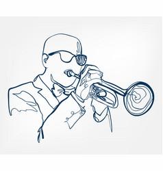hands trumpet sketch line design music instrument vector image