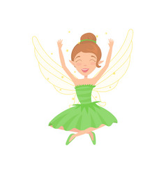 Happy fairy sitting with legs crossed and hands up vector