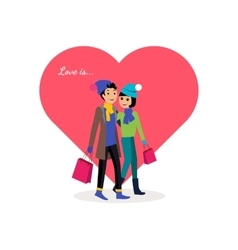Happy Valentine Day Couple Shopping vector image