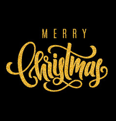 holiday golden hand lettering merry christmas vector image