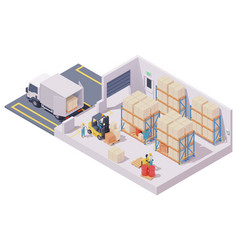 Isometric warehouse interior vector