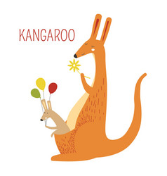 Kangaroo family of mother and baby book character vector