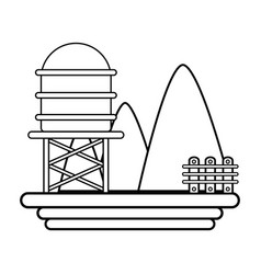 Line mountains with water tank towel and grid wood vector