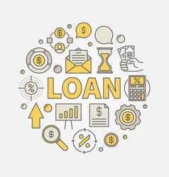 Loan round colorful vector