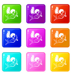 love cupid icons 9 set vector image